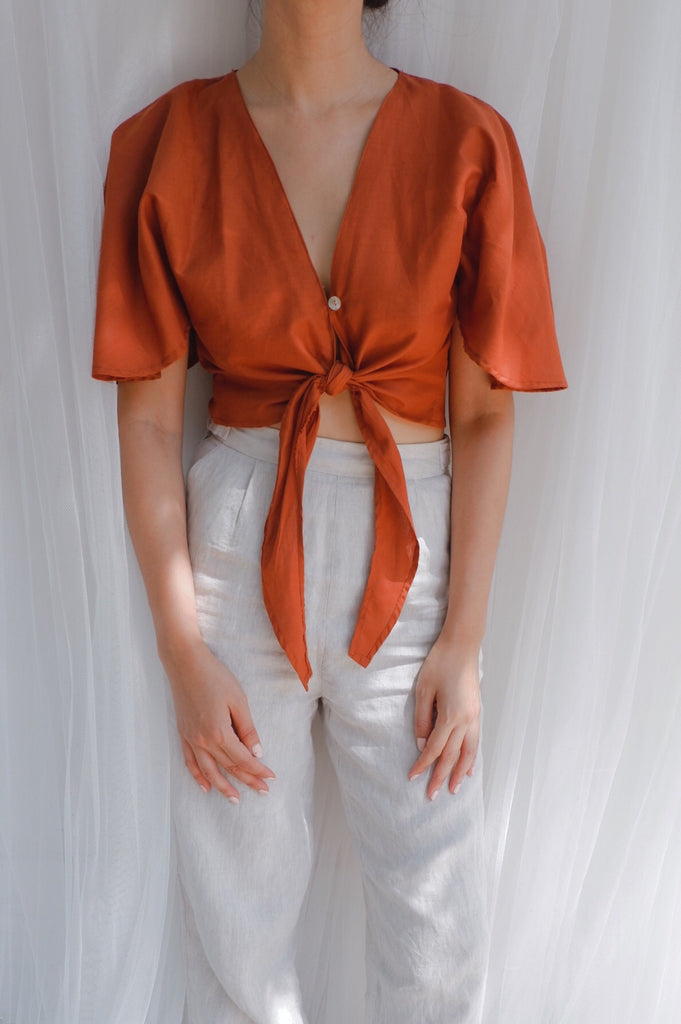 Rosa Tie Top - Burnt Orange