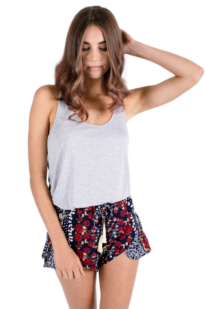 Calla Frilly Shorts Printed - Black