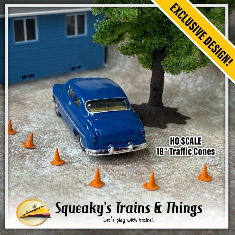 18″ Construction Cones - Basic (10 Pack) | HO Scale | Hand Painted / Unpainted - Squeaky's Trains & Things