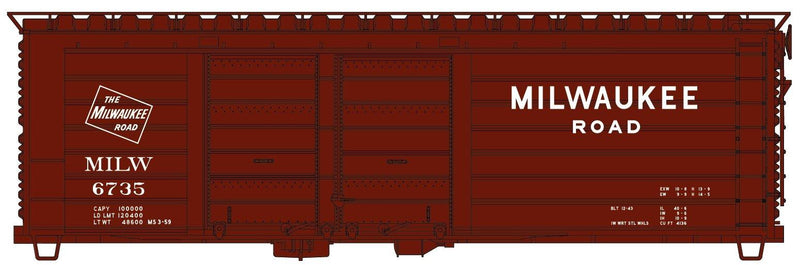 Accurail 3983 | 40' Staggered Double Door Automobile Boxcars | Milwaukee Road | HO Scale