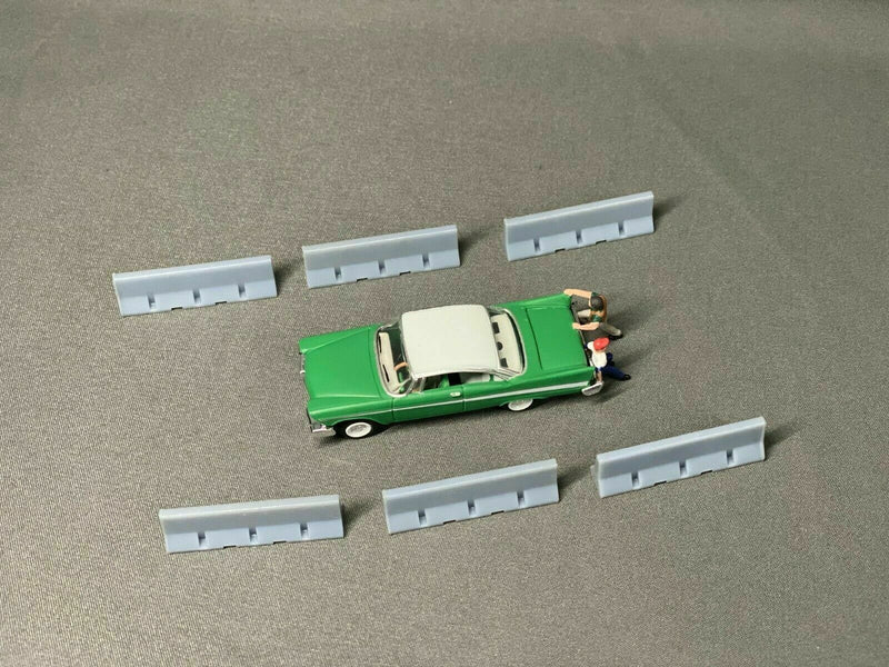 Temporary Concrete Barriers (10 Pack) | HO Scale | Unpainted - Squeaky's Trains & Things