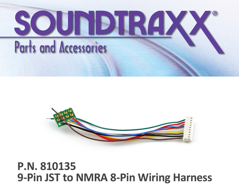 9-pin JST to NMRA 8-pin Wiring Harness - Squeaky's Trains & Things