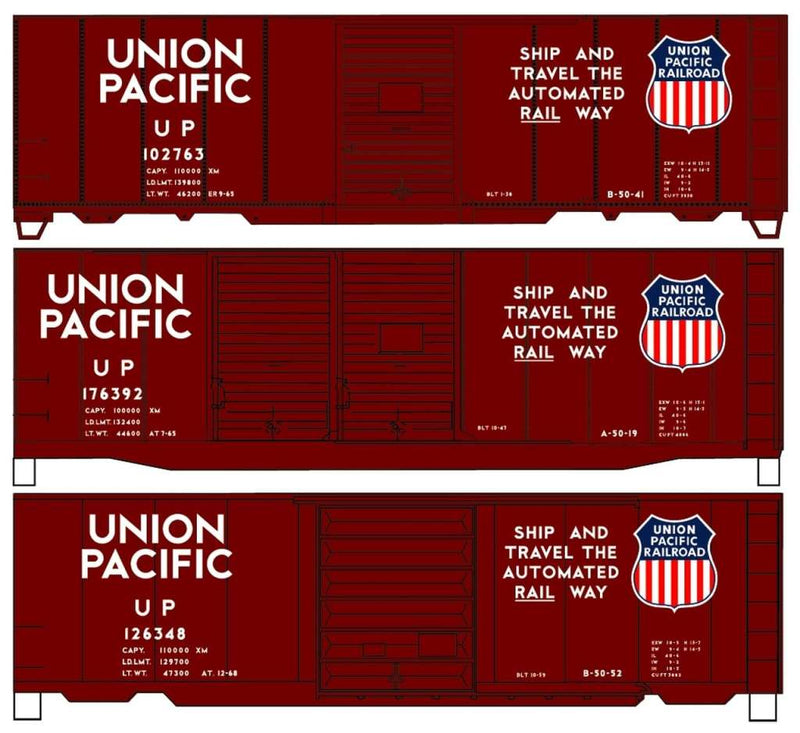 40′ Steel Boxcar 3-Car Set Kit Union Pacific #102763 #176392 #126348