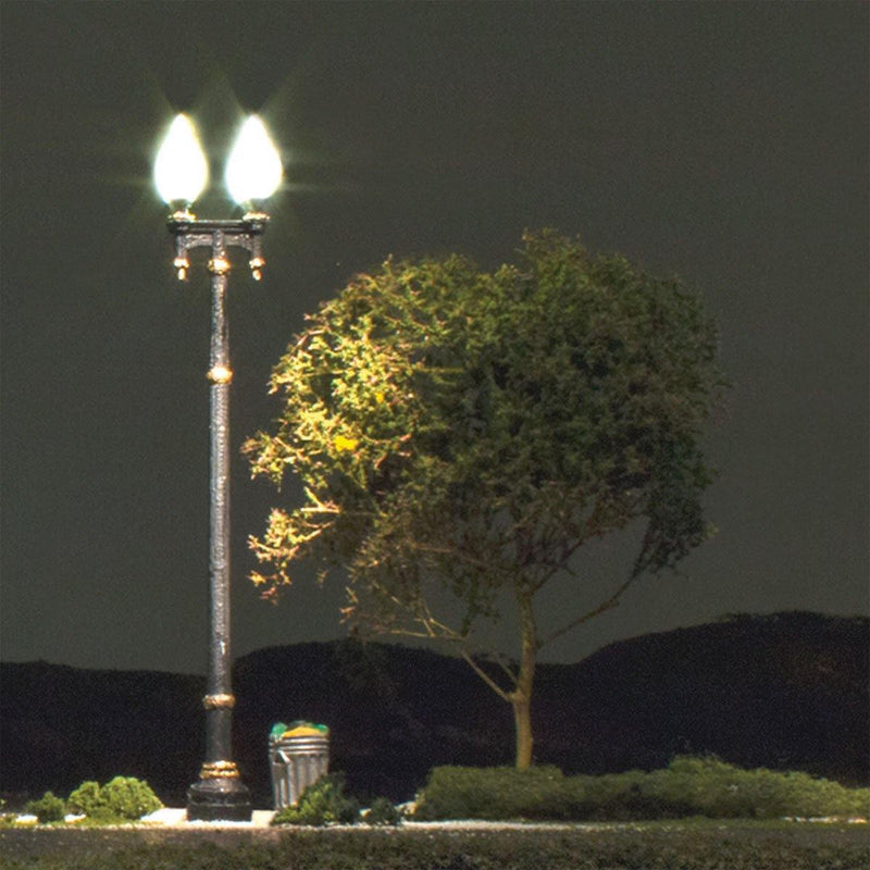 Woodland Scenics 5632 - Just Plug Lighting System - Double Lamp Post Street Lights - HO Scale - Squeaky's Trains & Things