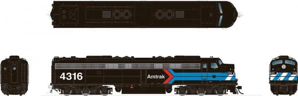 [Pre-Order] HO EMD E8A: Amtrak - Early Black Scheme: