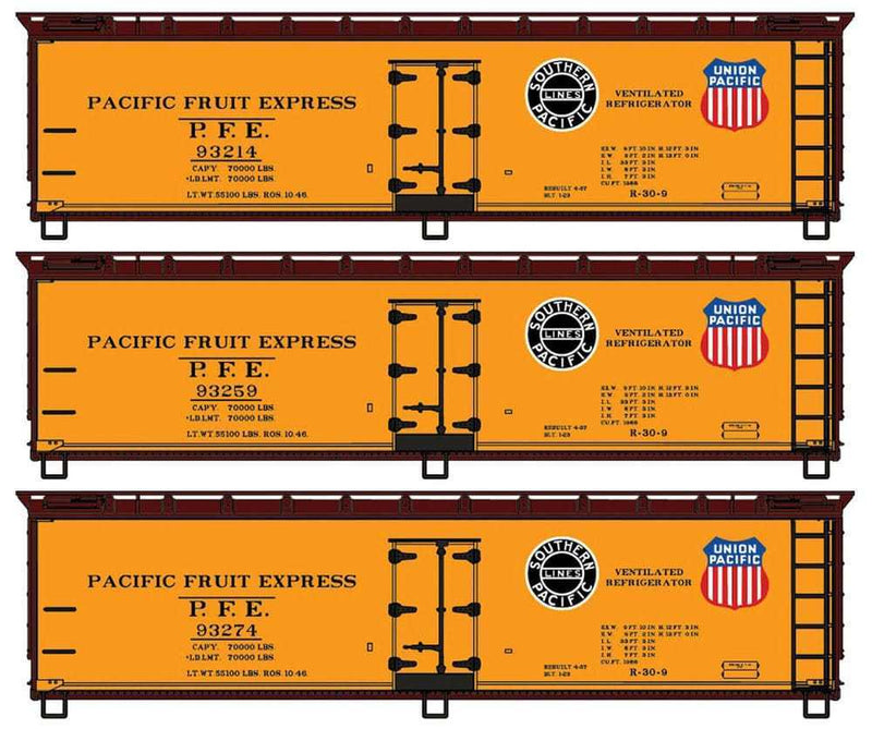 40′ Wood Reefer 3-Car Set Kit Pacific Fruit Express #93278 #93259 #93214
