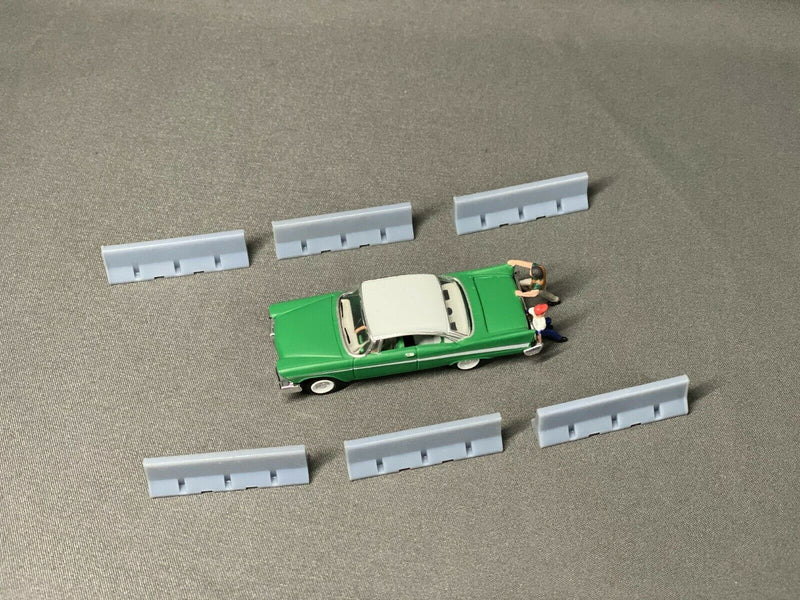 10ft Temporary Concrete Barriers (20 Pack) | HO Scale | Unpainted - Squeaky's Trains & Things