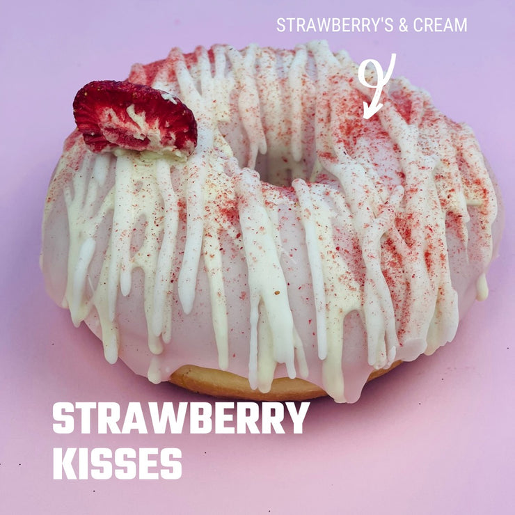 Strawberry Kisses: Strawberries & Cream Doughnut