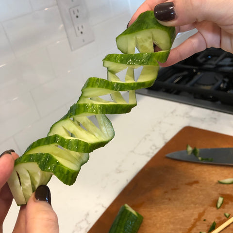 Cucumber - snake belly cut, Kyoto Virtual Cooking Class