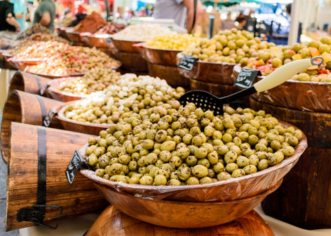 French market with fresh olives