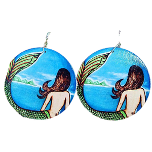 Wooden Handmade Earrings - Mermaid with Green Tail