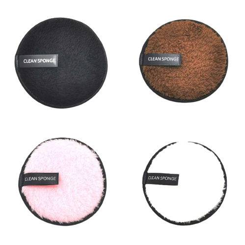 (Combo) Dual Facial Cleaning Sponge - White/ Brown/ Pink/ Black