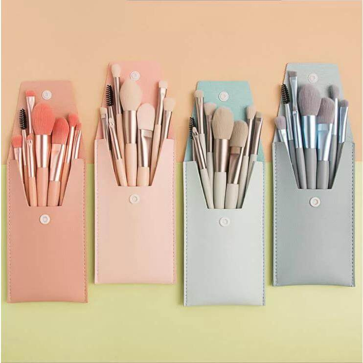 Cosmetic SA Fashion Travel Brushes with Bag  - Light Pink
