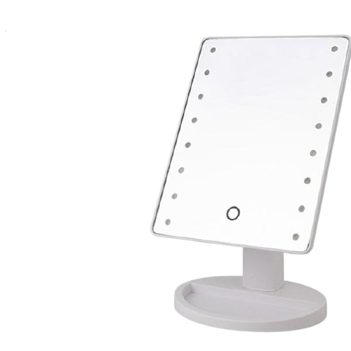 Cosmetics Large Makeup Stand Mirror with LED Lights - White