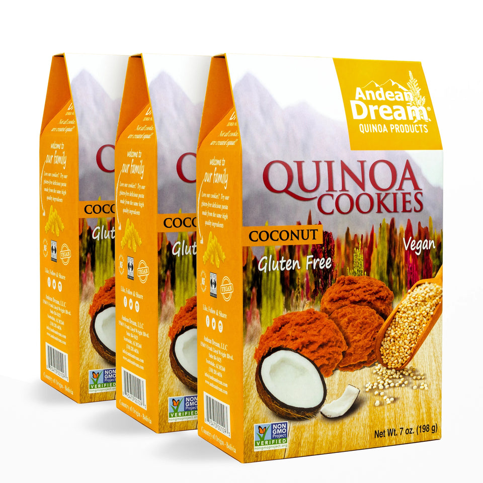 Quinoa Cookies (Coconut) | All Natural,Fair Trade Certified Quinoa | Andean Dream Quinoa Products | Gluten Free, Vegan, Allergen-Friendly (no dairy, eggs, corn, or soy) | Simple ingredients, amazing taste!
