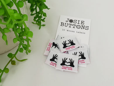 clothing labels Kiss sew in woven tags - Josie Buttons Made With Love
