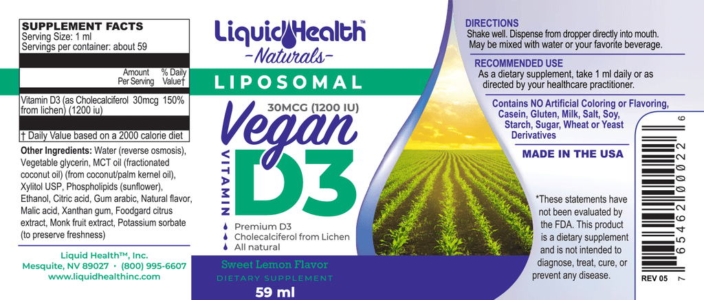 Liposomal Vegan Vitamin D3 2 oz - Christopher's Herb Shop
