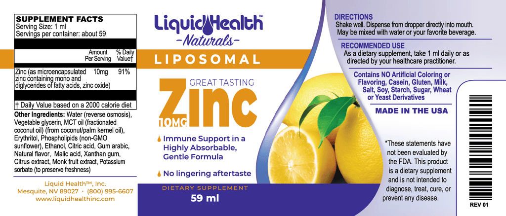 Liposomal Zinc 2 oz - Christopher's Herb Shop