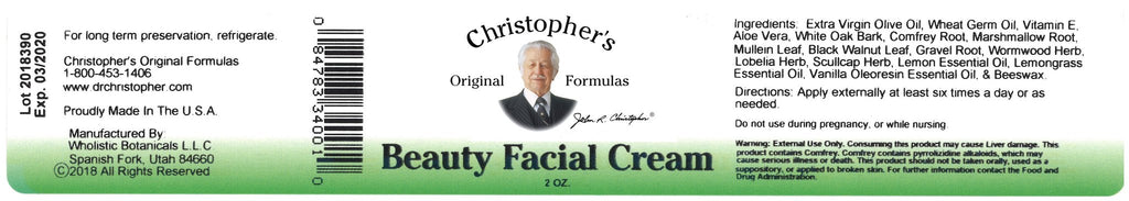Beauty Facial Cream - 2 oz. - Christopher's Herb Shop