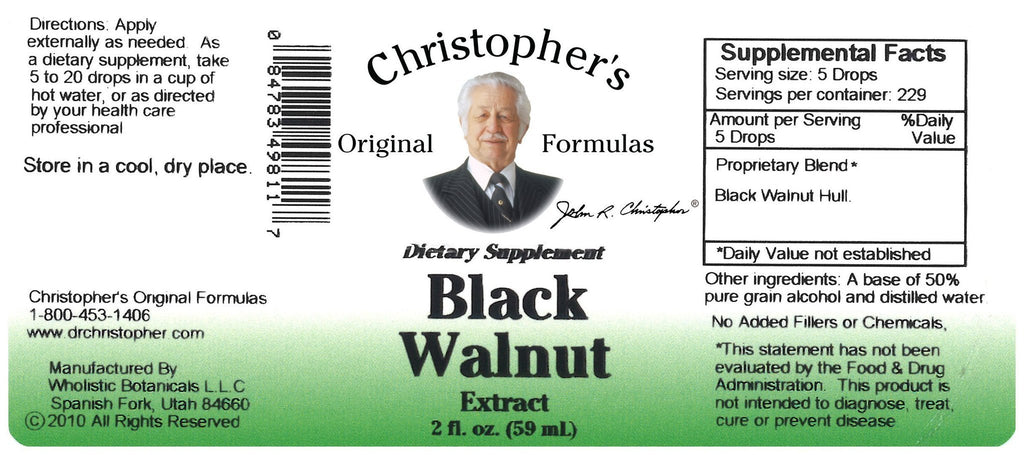 Black Walnut Hull - Alcohol Extract 2 oz. - Christopher's Herb Shop