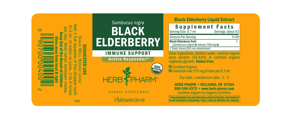 Herb Pharm® Black Elderberry - 1 oz - Christopher's Herb Shop