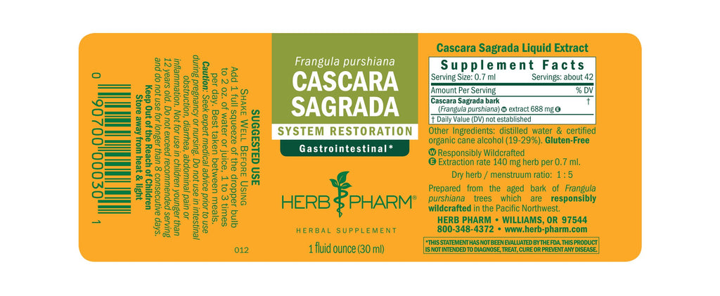 Herb Pharm® Cascara Sagrada - 1 oz - Christopher's Herb Shop