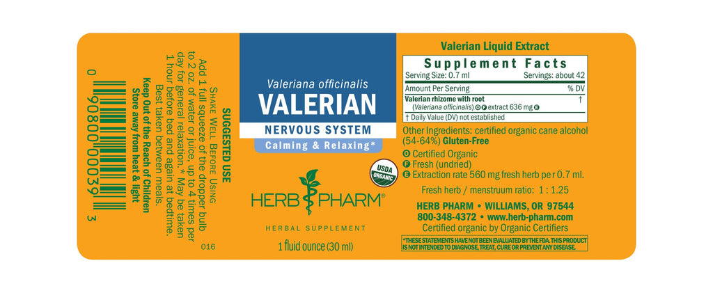 Herb Pharm® Valerian - 1 oz - Christopher's Herb Shop