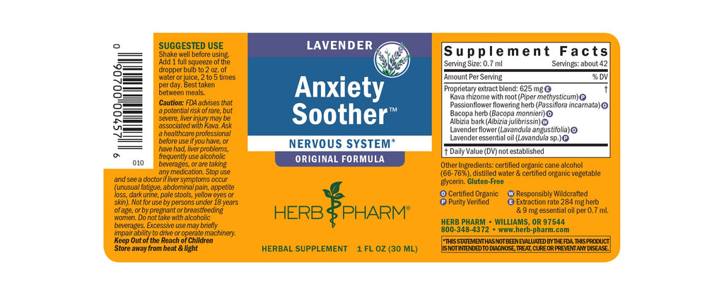 Herb Pharm® Anxiety Soother™: Original Lavender - Christopher's Herb Shop