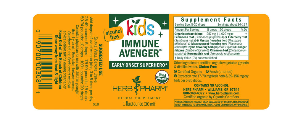 Herb Pharm® Kids Immune Avenger™ - 1 oz - Christopher's Herb Shop