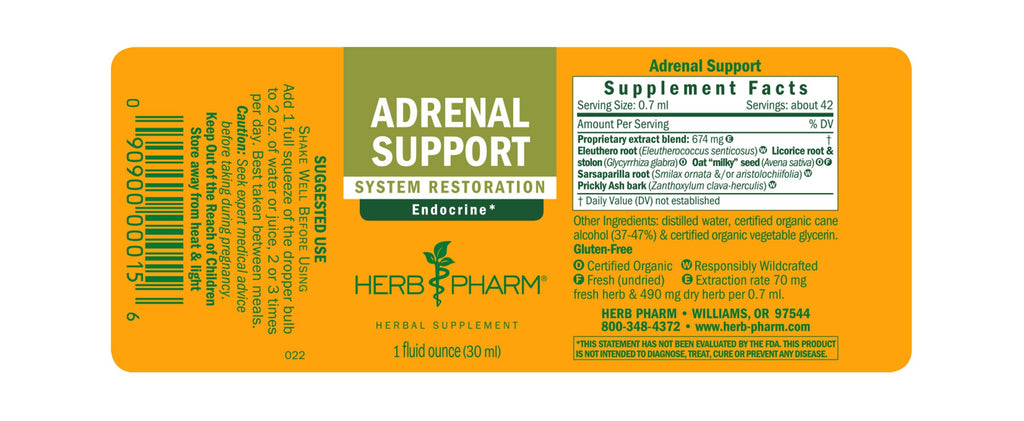 Herb Pharm® Adrenal Support™ - 1 oz - Christopher's Herb Shop