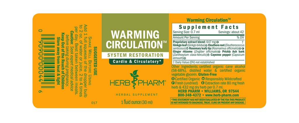 Herb Pharm® Warming Circulation™ - 1 oz - Christopher's Herb Shop