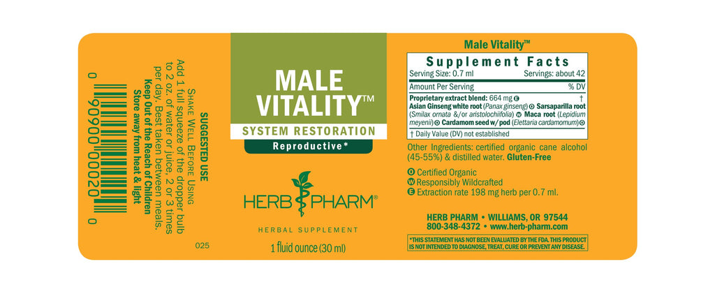 Herb Pharm® Male Vitality™ - 1 oz - Christopher's Herb Shop