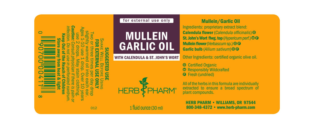 Herb Pharm® Mullein Garlic Oil - 1 oz - Christopher's Herb Shop