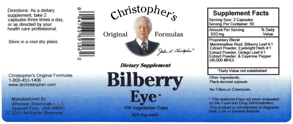Bilberry Eye - 100 Capsules - Christopher's Herb Shop