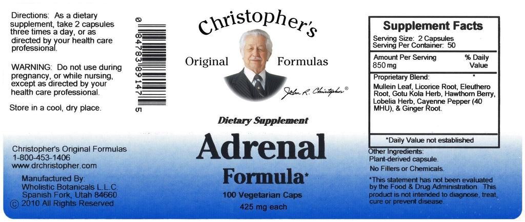 Adrenal Formula - 100 Capsules - Christopher's Herb Shop