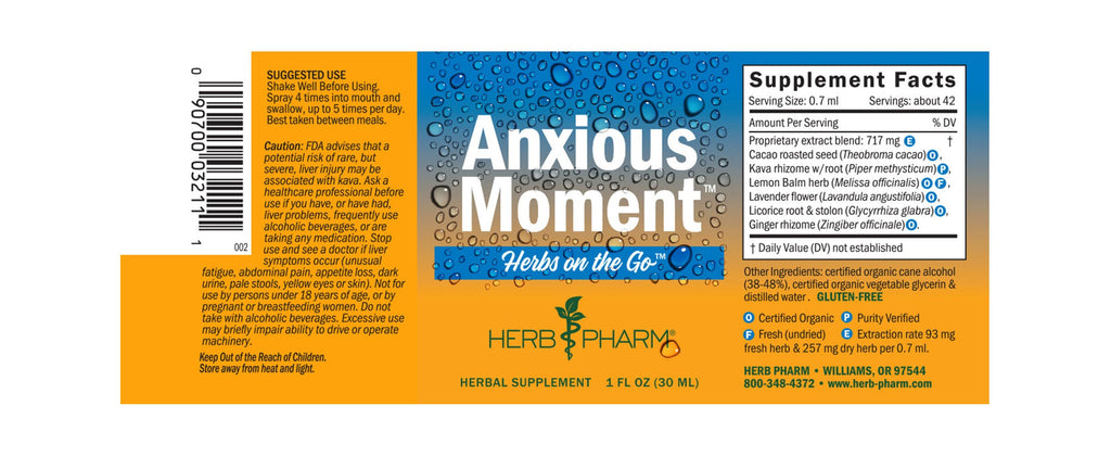 Herb Pharm® Herbs on the Go:  Anxious Moment™ - 1 oz - Christopher's Herb Shop
