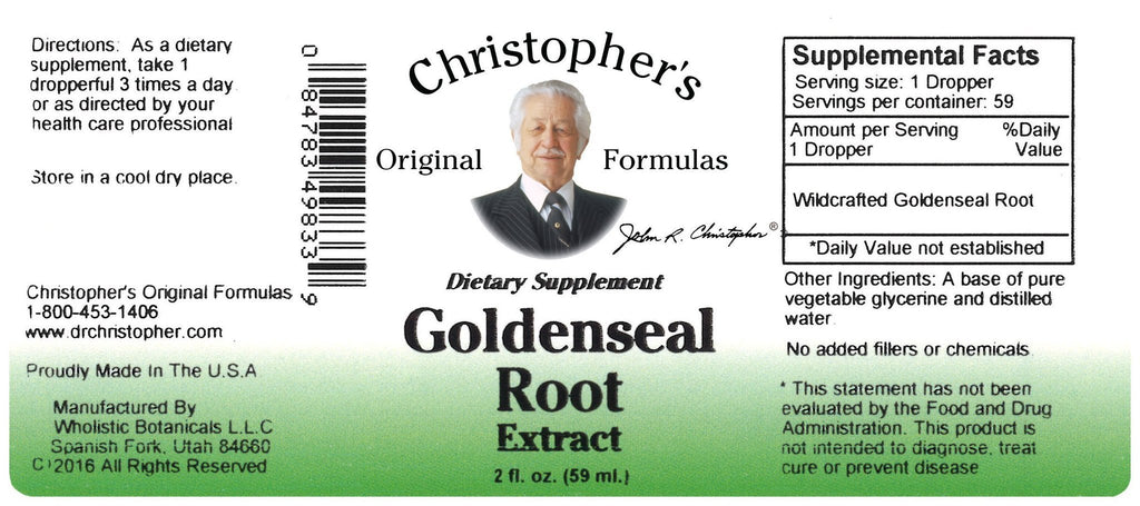 Goldenseal Root - Glycerine Extract 2 oz - Christopher's Herb Shop