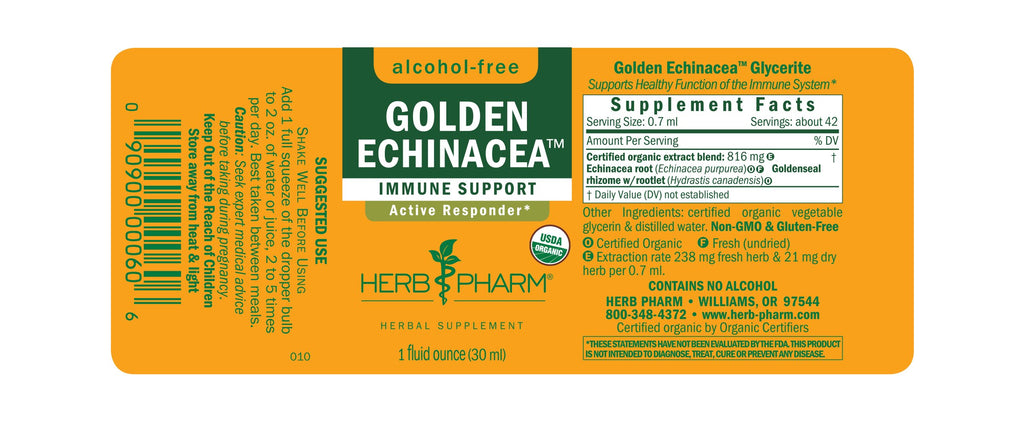 Herb Pharm® Golden Echinacea™, Alcohol-Free - 1 oz - Christopher's Herb Shop