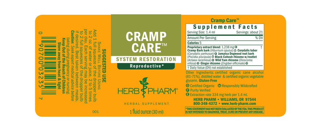 Herb Pharm® Cramp Care™ - 1 oz - Christopher's Herb Shop