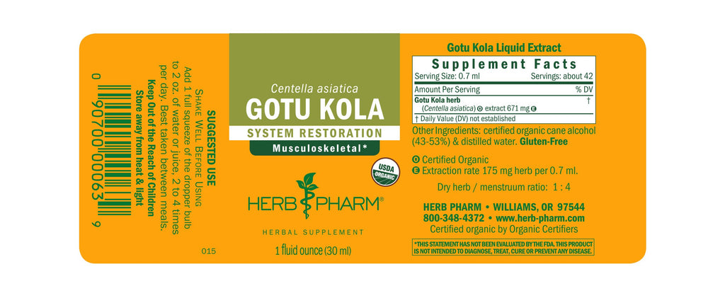 Herb Pharm® Gotu Kola - 1 oz - Christopher's Herb Shop
