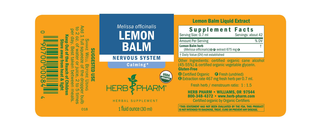 Herb Pharm® Lemon Balm - 1 oz - Christopher's Herb Shop