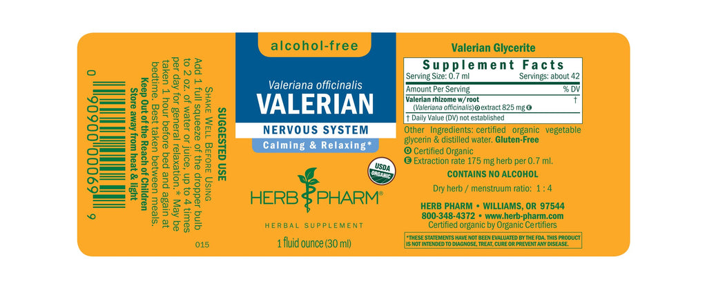 Herb Pharm® Valerian, Alcohol-Free - 1 oz - Christopher's Herb Shop