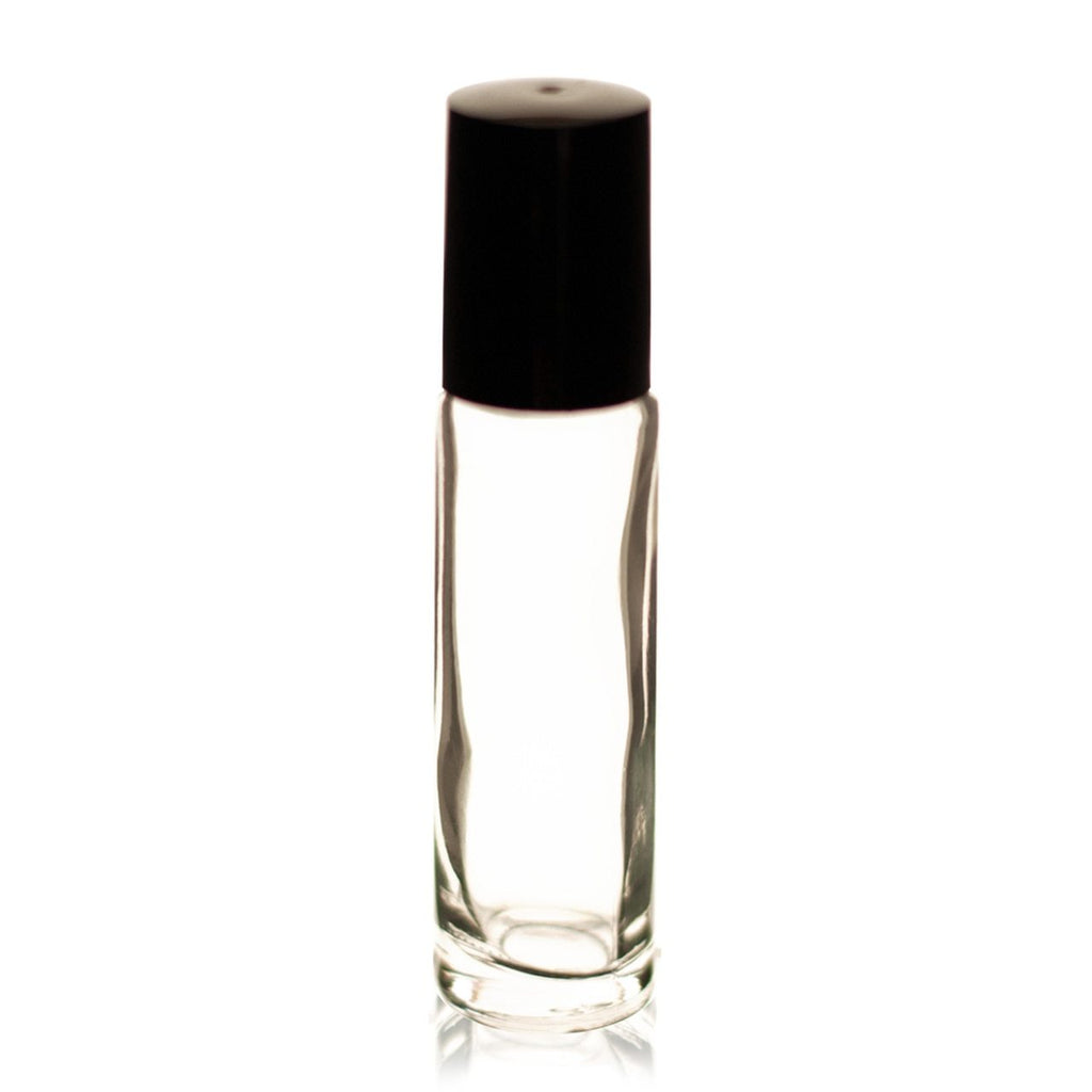 Clear Glass Roll-on Bottle with Black Cap & Ball 10ml - Christopher's Herb Shop