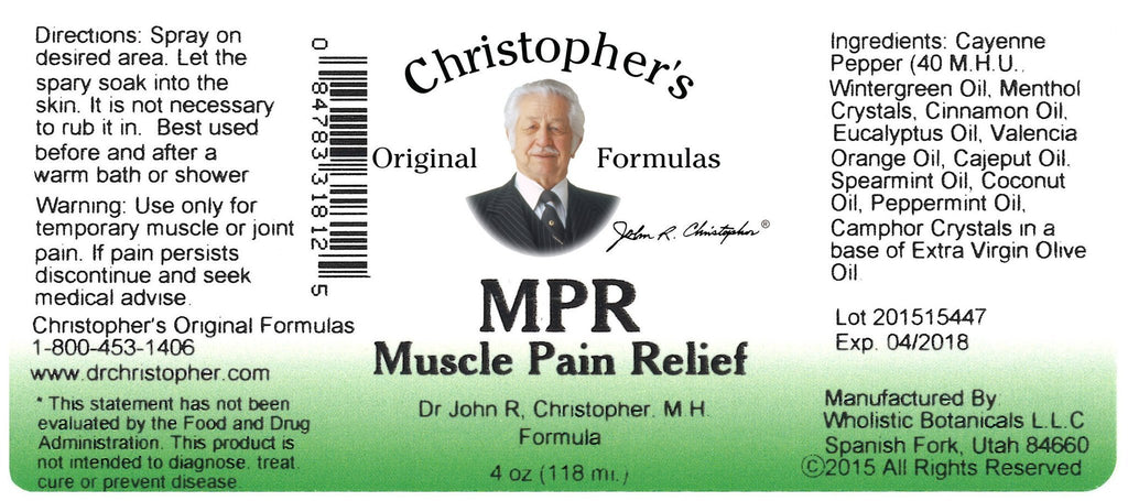 MPR (Muscle Pain Relief) - 4 oz Spray - Christopher's Herb Shop