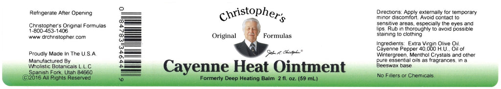 Cayenne Heat -  2 oz. Ointment - Christopher's Herb Shop
