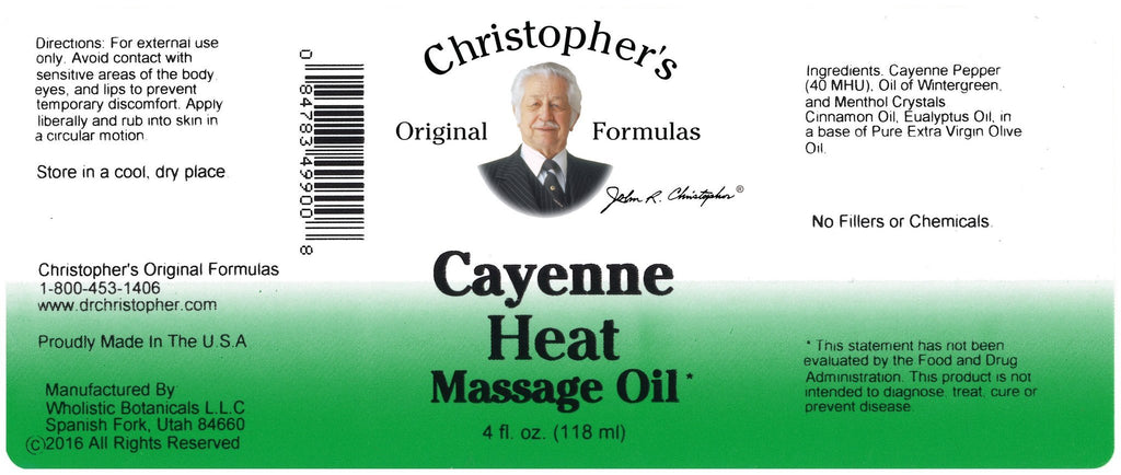 Cayenne Heat -  4 oz. Massage Oil - Christopher's Herb Shop