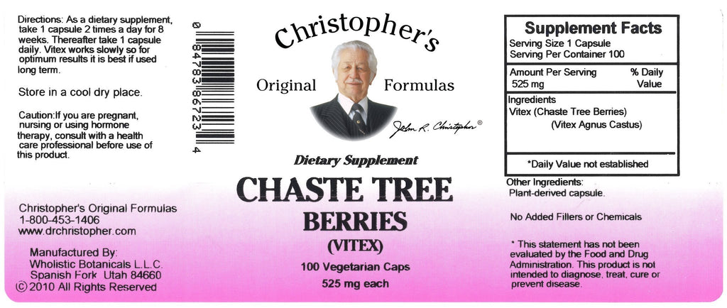 Chaste Tree Berry - 100 Capsules - Christopher's Herb Shop