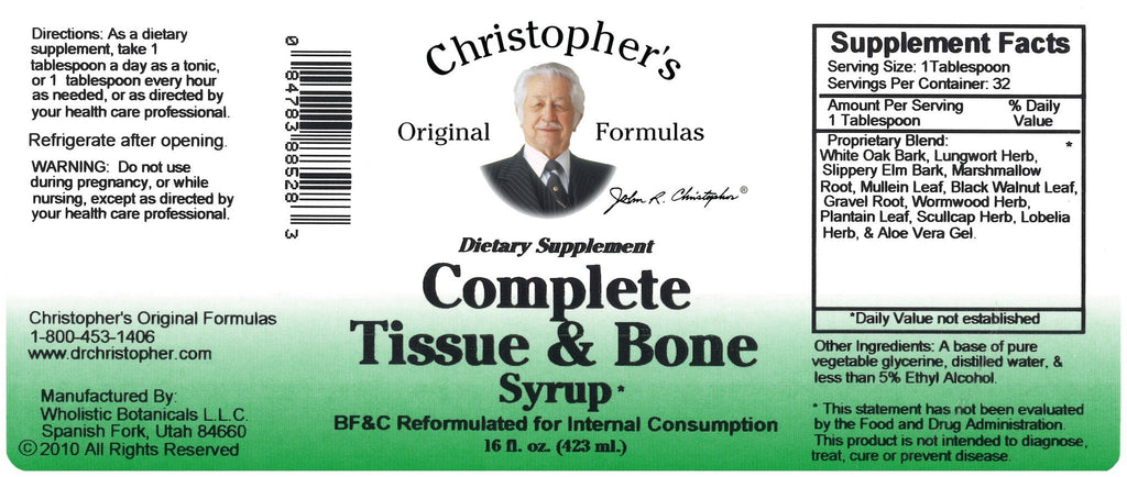 Complete Tissue & Bone - 16 oz. Syrup - Christopher's Herb Shop