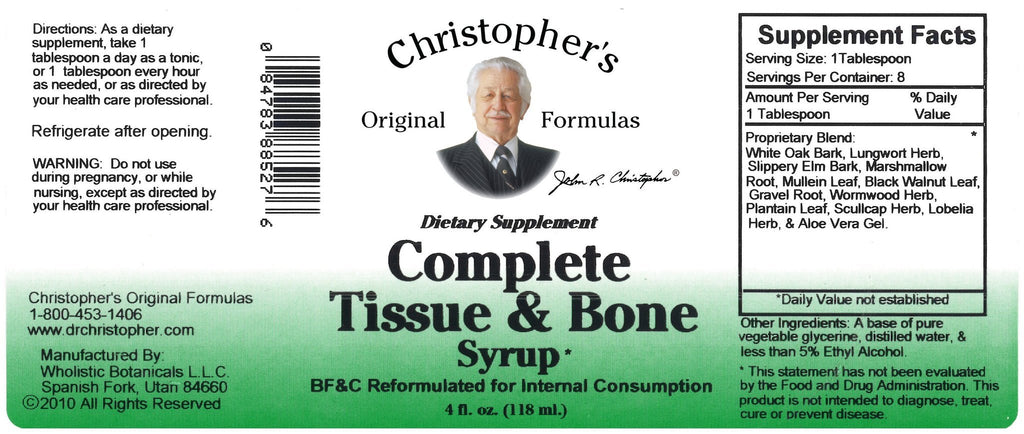 Complete Tissue & Bone - 4 oz. Syrup - Christopher's Herb Shop