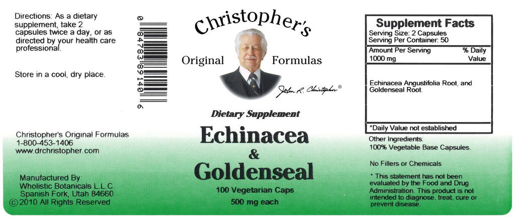 Echinacea & Goldenseal - 100 Capsules - Christopher's Herb Shop